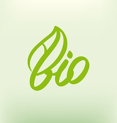 Bio logo eco label natural product sign organic vector image vector image