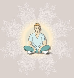 Boys People sketch lotus position vector image
