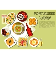 Bright national dishes of portuguese cuisine icon vector