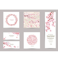 collection of greeting cards with a blossom sakura vector image vector image