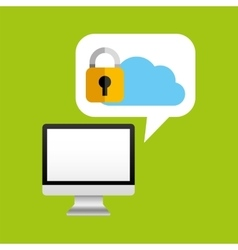 computer protection cloud icon design vector image vector image