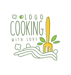 Cooking with love logo design with of vector