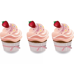 Cupcake with strawberry and cream vector image