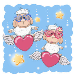 Cute lovers sheep vector