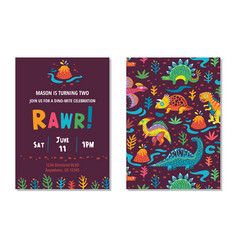 Dinosaurs party card design vector