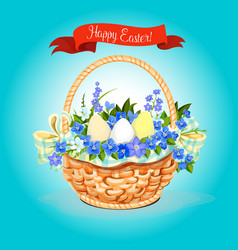 Easter eggs and flowers bunch basket poster vector