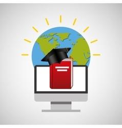 Education online global cap graduation book vector