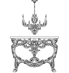 exquisite baroque console table and chandelier vector image vector image