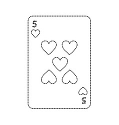 Five of hearts french playing cards related icon vector