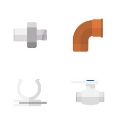 Flat icon sanitary set of connector conduit vector