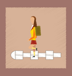 Flat shading style icon school girl hopscotch vector