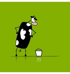 Funny bull with buckets of milk sketch vector image