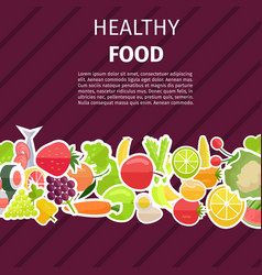healthy food banner with fruits and vegetables vector image