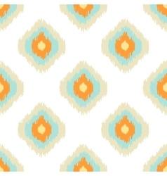 Ikat geometric seamless pattern Orange and blue vector image