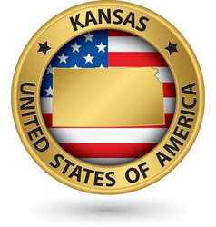 Kansas state gold label with state map vector image