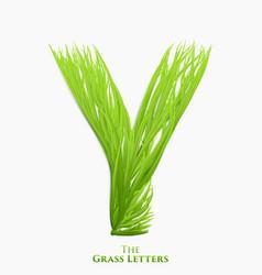 letter y of juicy grass alphabet green y vector image