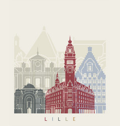 lille skyline poster vector image