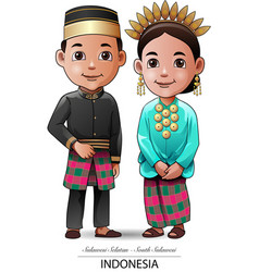 makassar traditional clothing vector image vector image