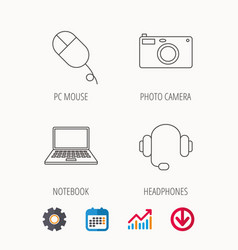 Photo camera headphones and notebook laptop vector