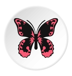 Pink butterfly icon flat style vector