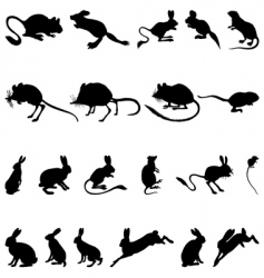 rodents silhouettes vector image vector image