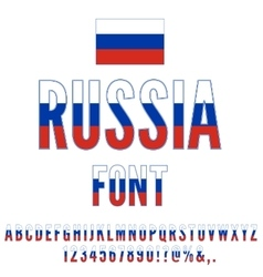 Russia Flag Font vector image vector image