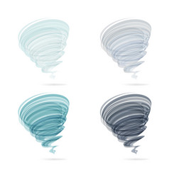 tornado swirl icon set isolated on white vector image vector image