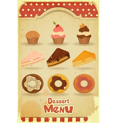 Pastry on retro background vector