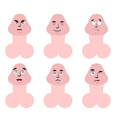 Emotions penis set expressions avatar member good vector