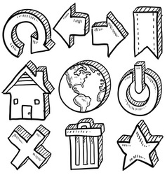 doodle icons internet computer vector image