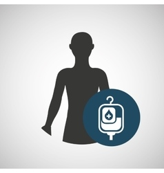 Silhouette person medical bag blood icon design vector