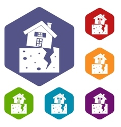 House after an earthquake icons set vector