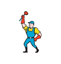 Super Plumber Wielding Plunger Cartoon vector image