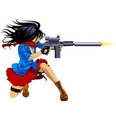 woman sniper vector image