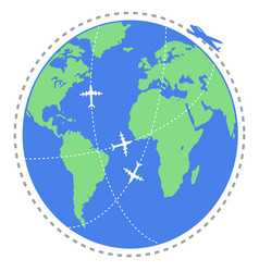 airplane flying travel around the world vector image