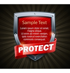 Red shield on black  text vector