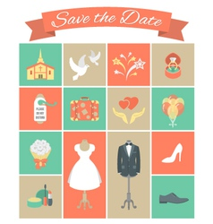 Wedding icons square set 2 vector