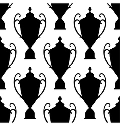 Black silhouette trophy cup seamless pattern vector