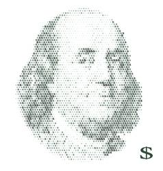 franklin portrait with dollar simbols vector image