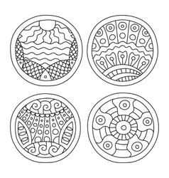 Doodles filled circles set vector