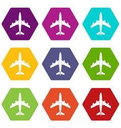 airplane icon set color hexahedron vector image vector image