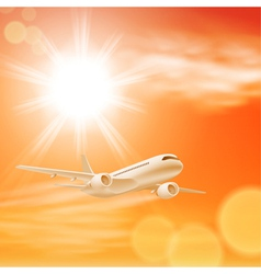 Airplane in the sky with sun in sunset time vector image