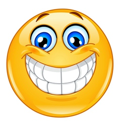 big smile emoticon vector image vector image