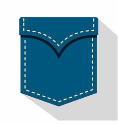 Blue pocket symbol icon flat style vector