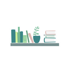 books standing and lying on shelf house plant vector image vector image