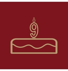 Cake with candles in the form of number 9 icon vector