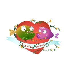 Cartoon fish in love with red heart for kids vector