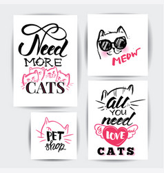 cat banner set vector image vector image