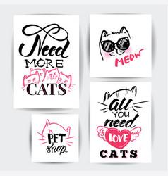 Cat banner set vector
