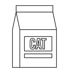 Cat food bag icon outline style vector